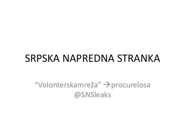 """SRPSKA NAPREDNA STRANKA """"Volonterskamreža"""" procurelosa @SNSleaks"""