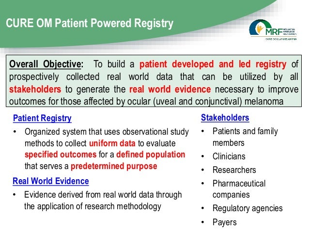 CURE OM Patient Powered Registry Patient Registry • Organized system that uses observational study methods to collect unif...