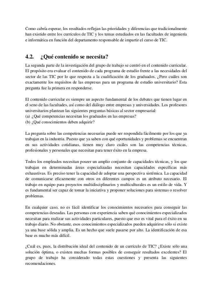 4.3.    Modelo propuesto por el sector empresarial de las TIC        respecto al contenido de los currículos de TICEl cons...