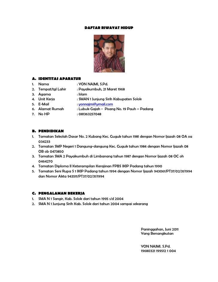 Daftar Riwayat Hidup Yon Najmi