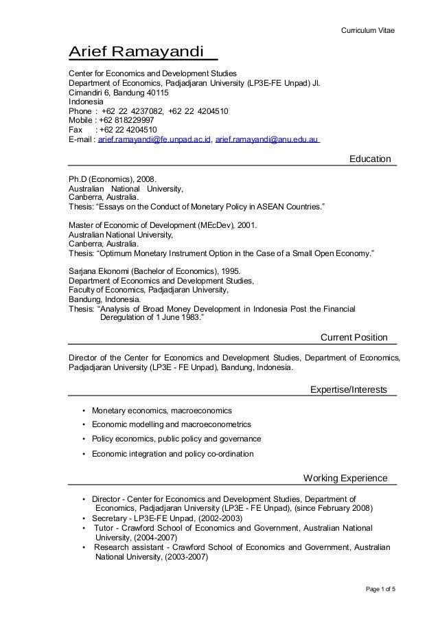 Curriculum VitaeArief RamayandiCenter for Economics and Development StudiesDepartment of Economics, Padjadjaran University...