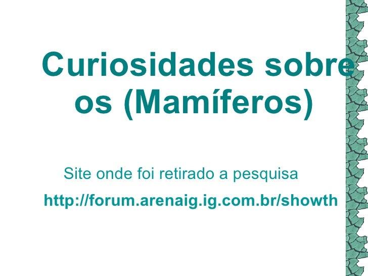 Curiosidades sobre os (Mamíferos) http://forum.arenaig.ig.com.br/showthread.php?37022-Curiosidades-(Mamferos) Site onde ...