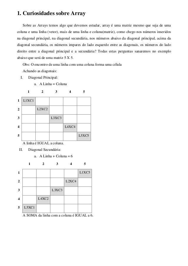 1. Curiosidades sobre Array Sobre as Arrays temos algo que devemos estudar, array é uma matriz mesmo que seja de uma colun...