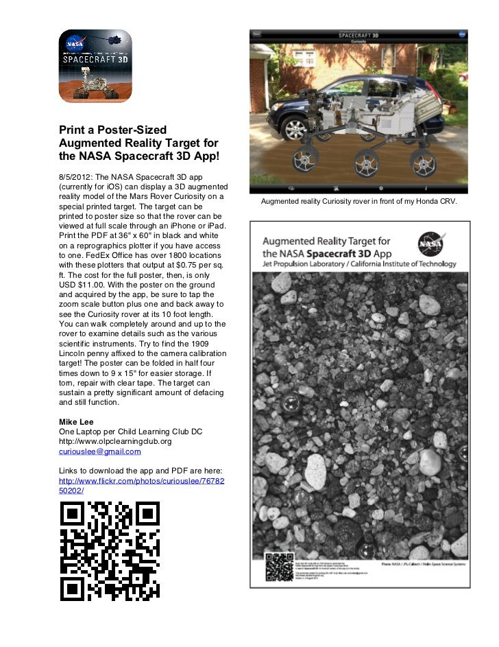 Print a Poster-SizedAugmented Reality Target forthe NASA Spacecraft 3D App!8/5/2012: The NASA Spacecraft 3D app(currently ...