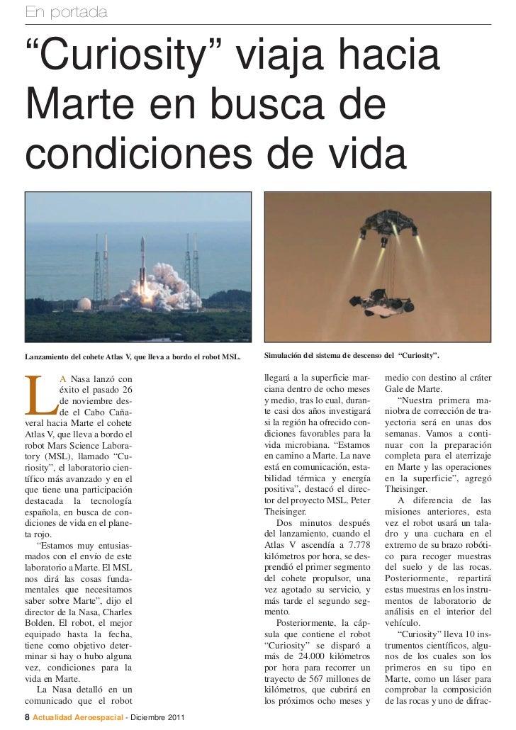 """En portada""""Curiosity"""" viaja haciaMarte en busca decondiciones de vidaLanzamiento del cohete Atlas V, que lleva a bordo el ..."""