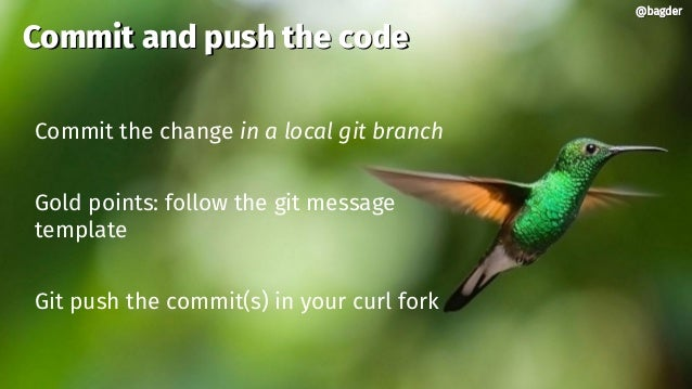 @bagder@bagder Commit the change in a local git branch Gold points: follow the git message template Git push the commit(s)...