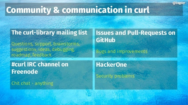 @bagder@bagder Community & communication in curl The curl-library mailing list Questions, support, brainstorms, suggestion...