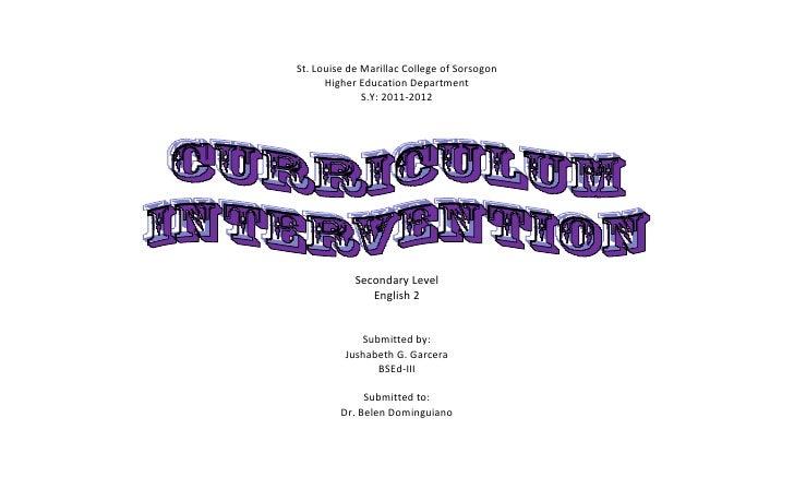 St. Louise de Marillac College of Sorsogon      Higher Education Department              S.Y: 2011-2012            Seconda...