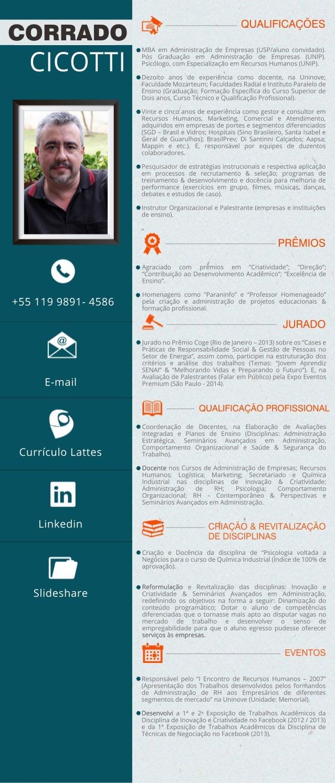 CORRADO QUALIFICAÇÕES  CICOTTI MBA em Administração de Empresas (USP/aluno convidado).  +55 119 9891- 4586  E-mail  Curríc...