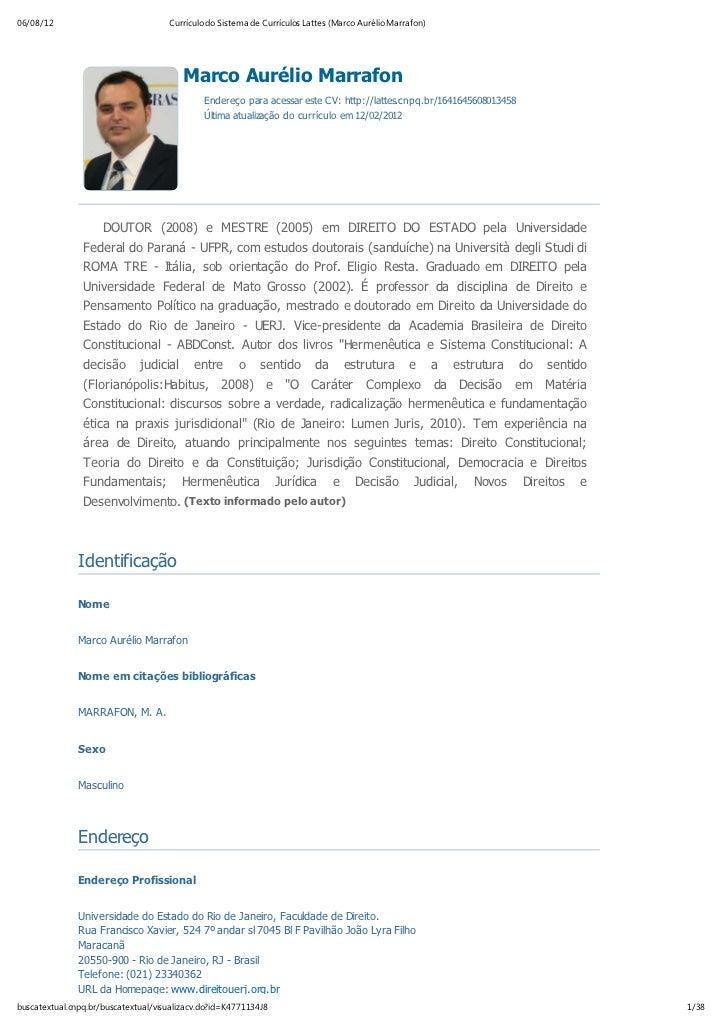 06/08/12                             Currículo do Sistema de Currículos Lattes (Marco Aurélio Marrafon)                   ...