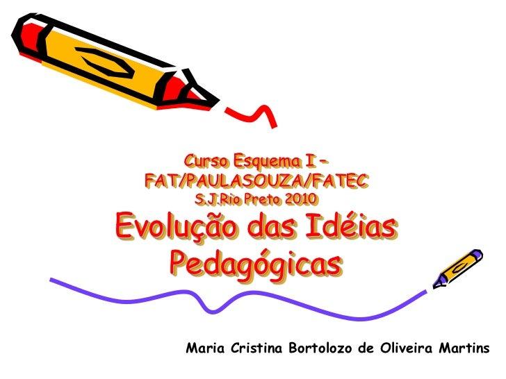 Curso Esquema I –  FAT/PAULASOUZA/FATEC      S.J.Rio Preto 2010Evolução das Idéias    Pedagógicas     Maria Cristina Borto...