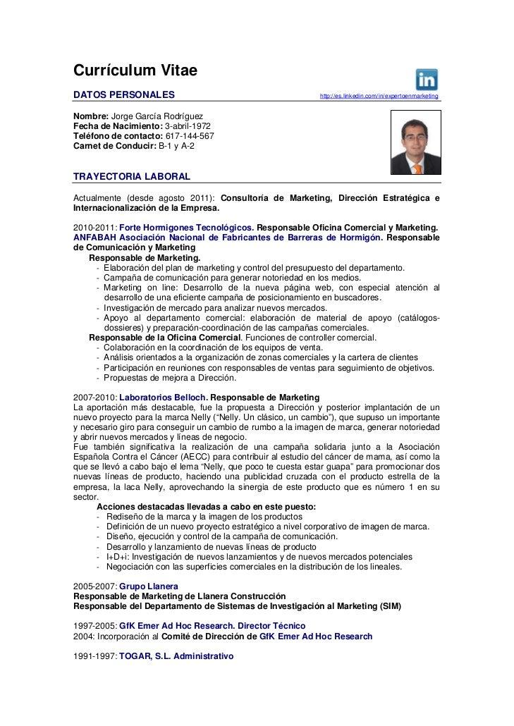 Currículum Vitae - Jorge García Rodríguez