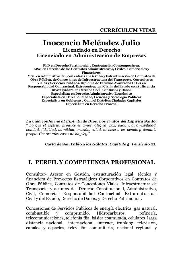 CURRICULUM VITAE DE INOCENCIO MELENDEZ JULIO