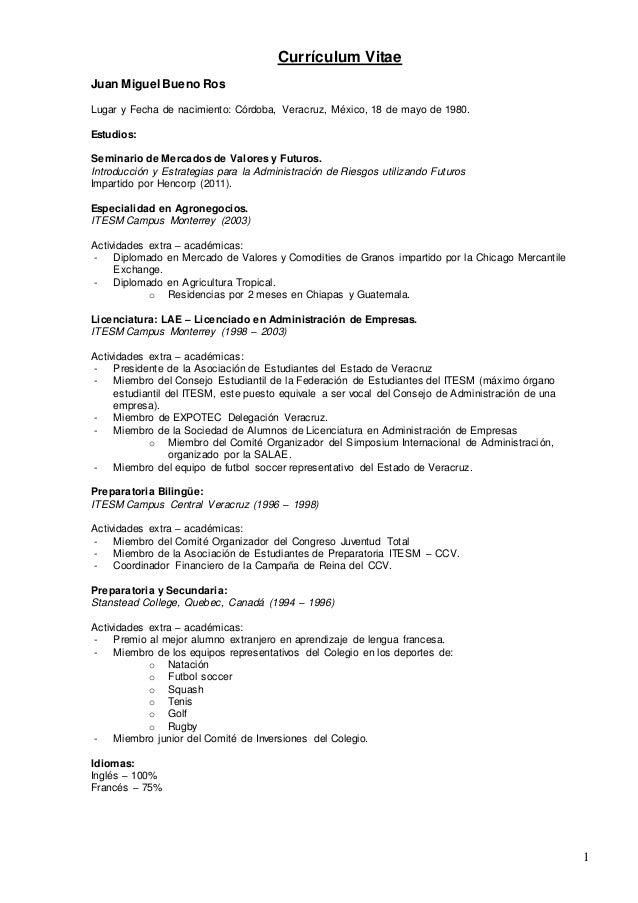Juan Miguel Bueno Ros Curriculum