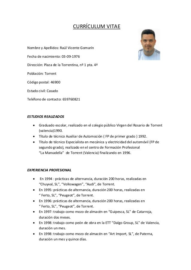Modelo Curriculum Vitae Frani Ais Convenio Uta Cl