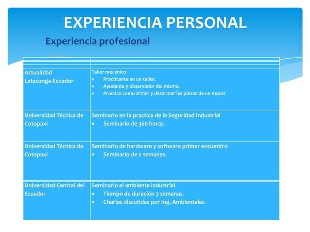EXPERIENCIA PERSONAL       Experiencia profesionalActualidad                Taller mecánicoLatacunga-Ecuador              ...