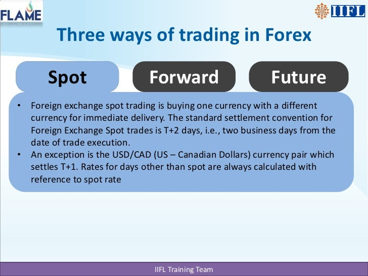 Spot currency trading