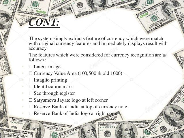 Currency recognition system using image processing