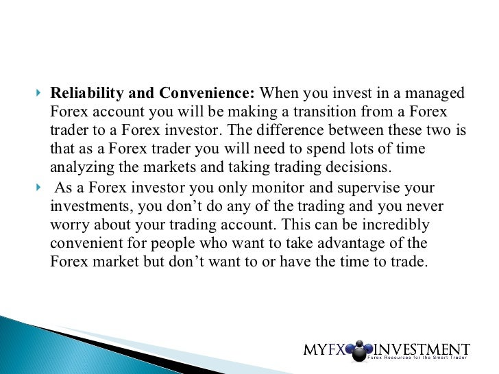 Managed forex trading account