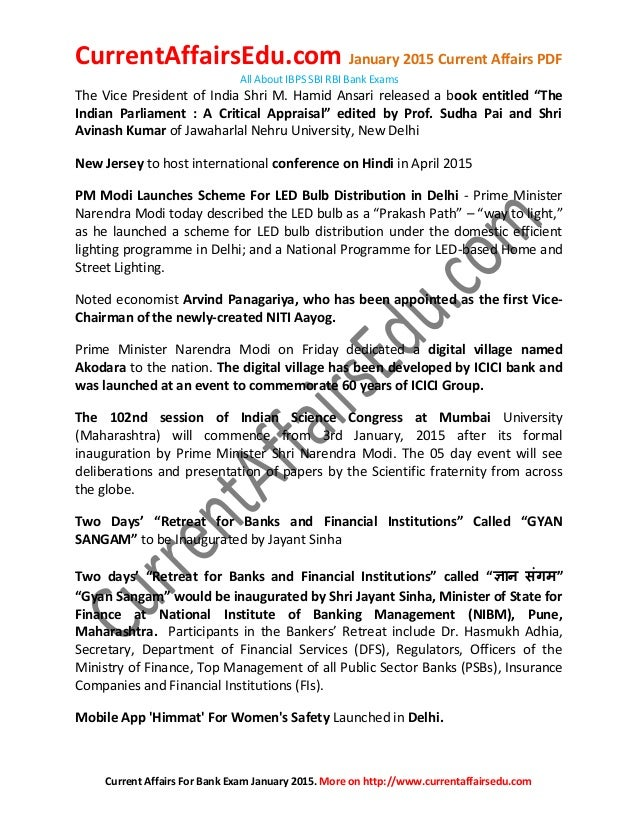 Banking Current Affairs Pdf 2015