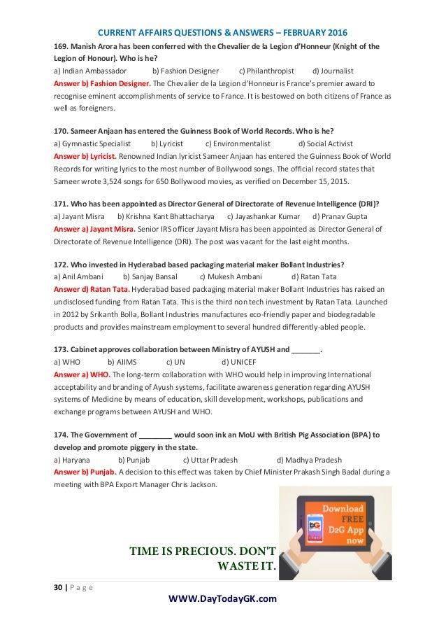 current affairs february 2013 current affairs Latest current affairs of  of april 2018 current affairs of march 2018 current affairs of february 2018 current affairs of january 2018 current affairs of.