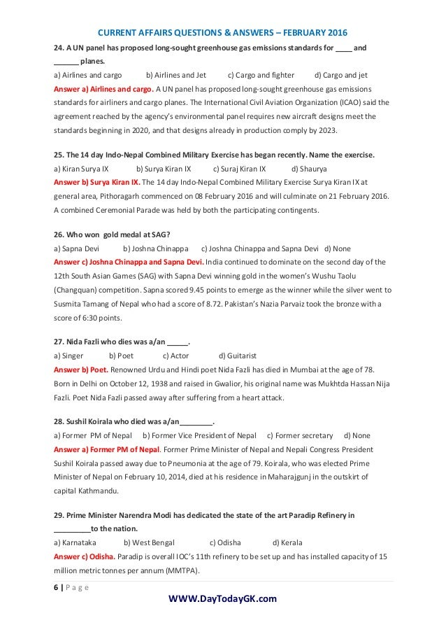 Current Affairs | Current Affairs Questions-Answers-February (PDF) - …