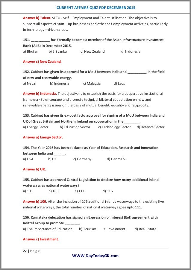 current affairs quiz questions and answers pdf