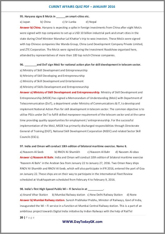 January 2016 Current Affairs Quick Review - Pdf