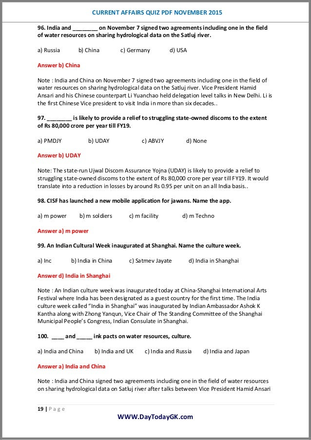 Current Affairs Quiz PDF Novebmer 2015 By Daytodaygk com