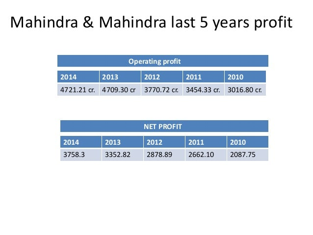 Mahindra & Mahindra last 5 years profit  Operating profit  2014 2013 2012 2011 2010  4721.21 cr. 4709.30 cr 3770.72 cr. 34...