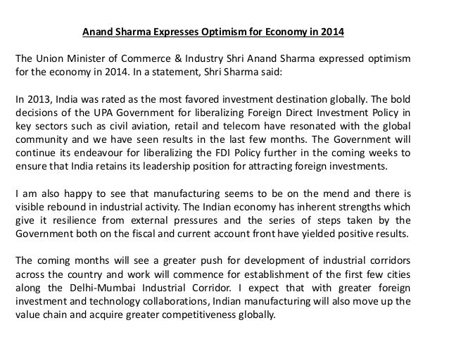 Anand Sharma Expresses Optimism for Economy in 2014 The Union Minister of Commerce & Industry Shri Anand Sharma expressed ...