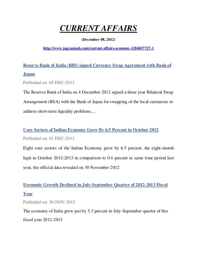 CURRENT AFFAIRS                                 (December 08, 2012)           http://www.jagranjosh.com/current-affairs-ec...
