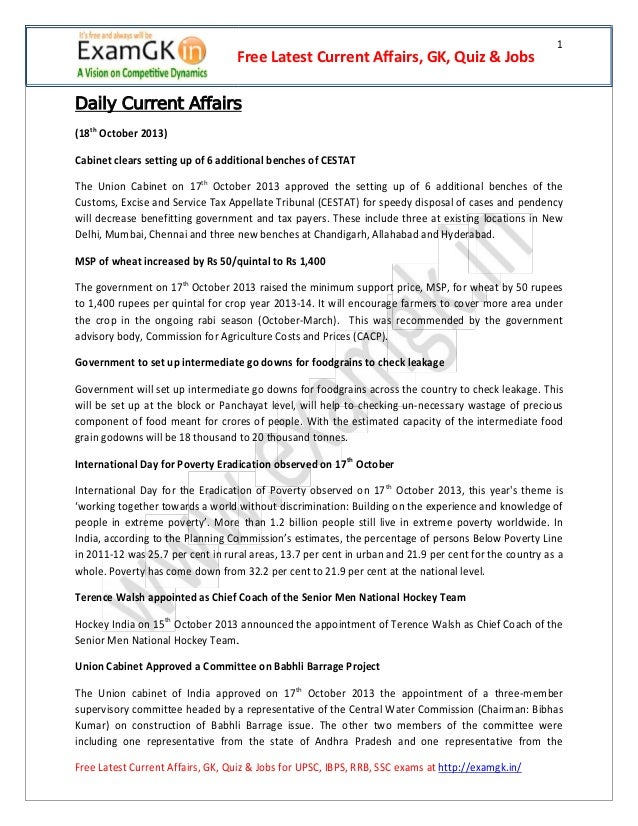 Free Latest Current Affairs, GK, Quiz & Jobs  1  Daily Current Affairs (18th October 2013) Cabinet clears setting up of 6 ...