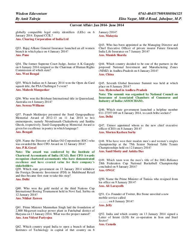 Current Affairs Complete Jan 2014 June 2014