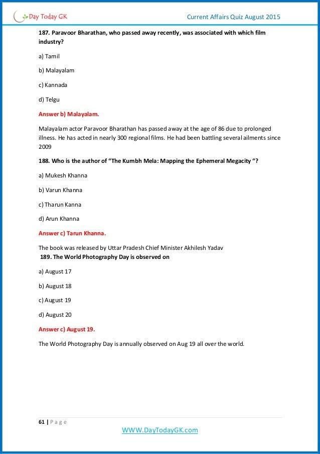 Current Affairs Quiz pdf (august 2015) By Daytodaygk com
