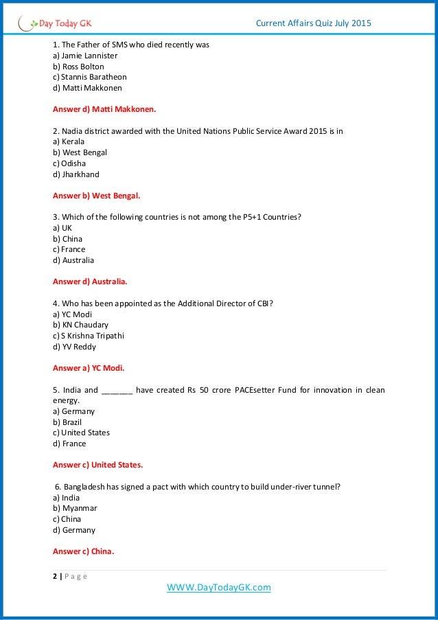 Current Affairs PDF | Current Affairs Quiz Pdf (July 2015) Daytodaygk…