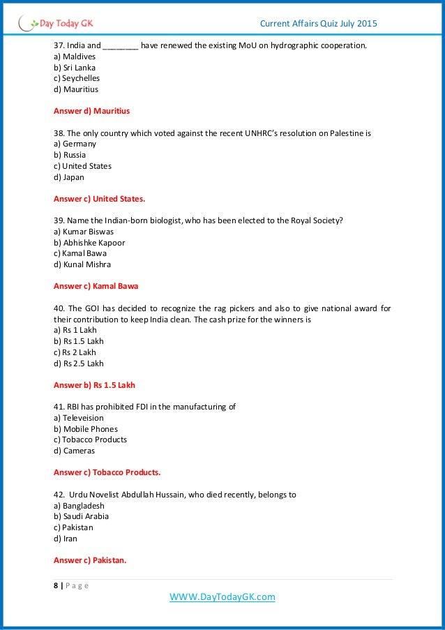 Current Affairs PDF | Current Affairs Quiz Pdf (July 2015
