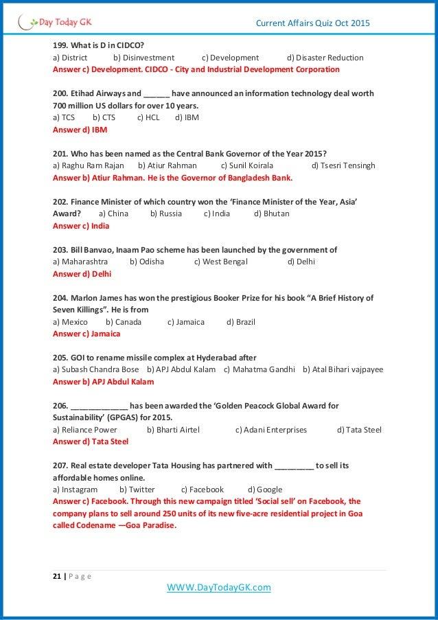 Current Affairs Quiz Pdf October 2015 By Daytodaygk Com