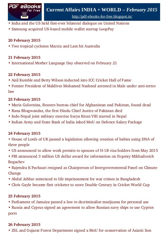 Current affairs India and World, February 2015