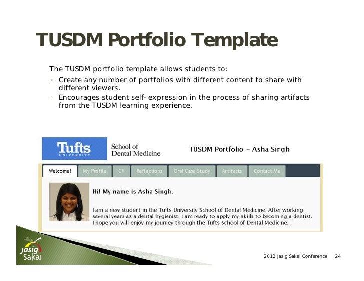 Current and future portfolio innovations in sakai for Academic portfolio template