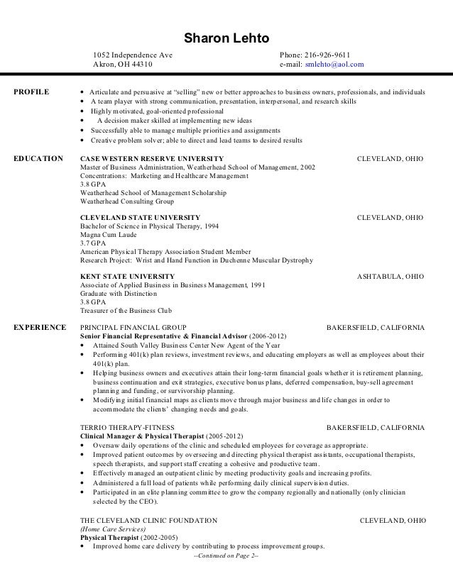Current Business Resume