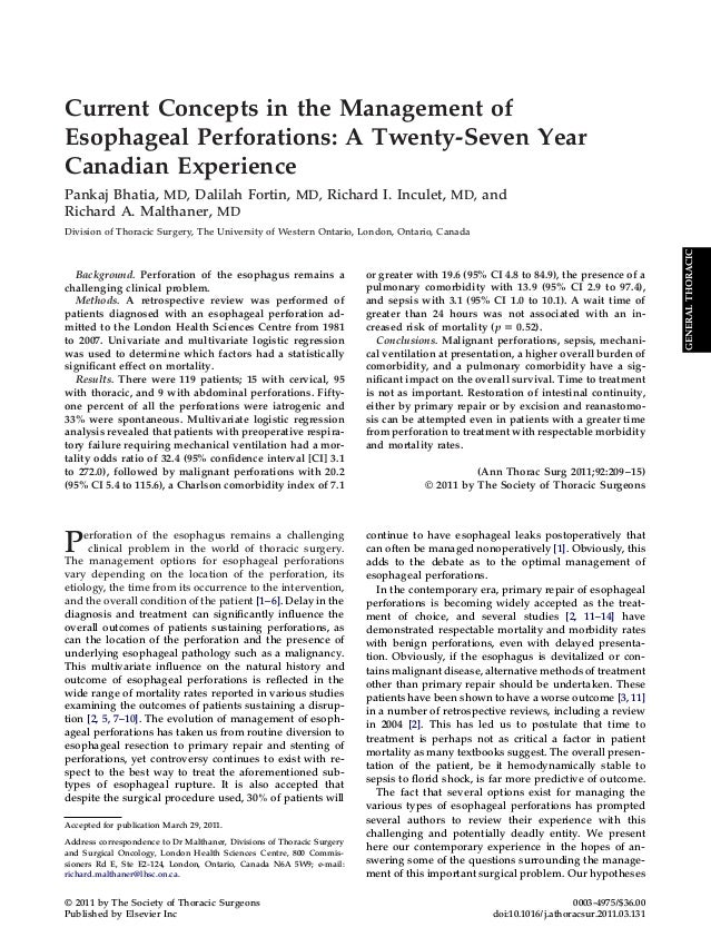 Current Concepts in the Management ofEsophageal Perforations: A Twenty-Seven YearCanadian ExperiencePankaj Bhatia, MD, Dal...
