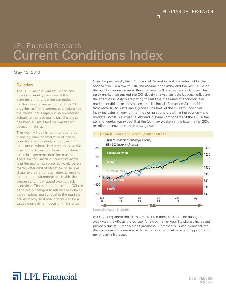 LPL FINANCIAL  R E S E A R C H     LPL Financial Research Current Conditions Index May 12, 2010                         ...