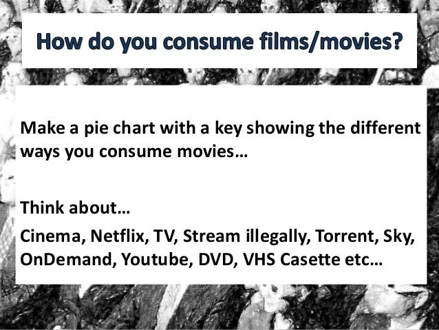 Make a pie chart with a key showing the different ways you consume movies… Think about… Cinema, Netflix, TV, Stream illega...