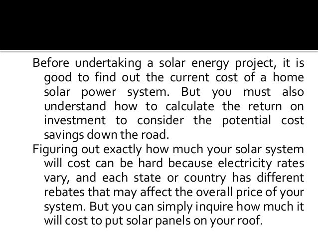 Current Cost of a Home Solar Power System