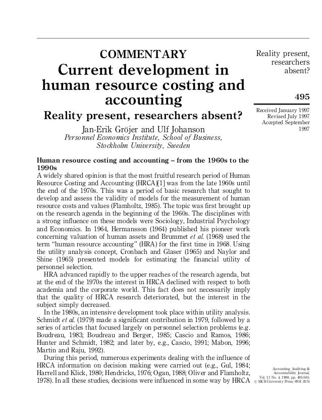 Reality present, researchers absent? 495 Accounting Auditing & Accountability Journal, Vol. 11 No. 4, 1998, pp. 495-505. #...