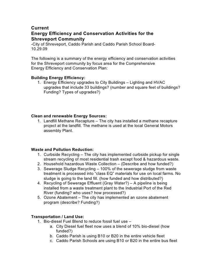 Current Energy Efficiency and Conservation Activities for the Shreveport Community -City of Shreveport, Caddo Parish and C...