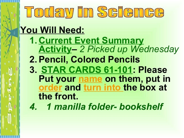 You Will Need:  1. Current Event Summary     Activity– 2 Picked up Wednesday  2. Pencil, Colored Pencils  3. STAR CARDS 61...