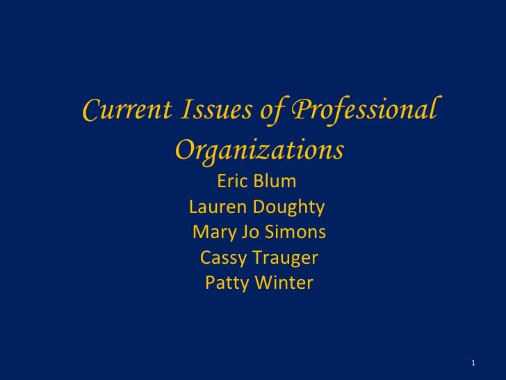 Current Issues of Professional Organizations Eric Blum  Lauren Doughty  Mary Jo Simons Cassy Trauger Patty Winter