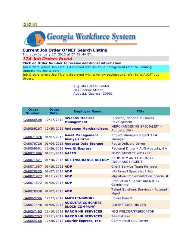 Current Job Order O*NET Search ListingThursday January 17, 2013 at 07:59:44 ET.124 Job Orders foundClick on Order Number t...